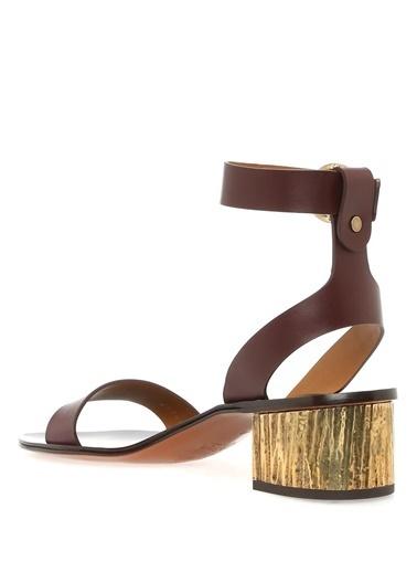 Chloe Kalın Topuklu %100 Deri Sandalet Mor